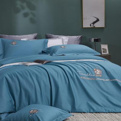 2021新品60支全棉四件套刺绣四件套 1.8m(6英尺)床 翡翠绿