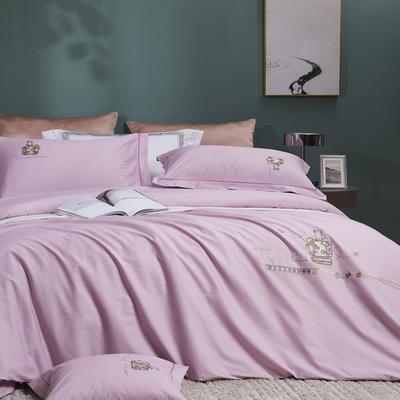 2021新品60支全棉四件套刺绣四件套 1.8m(6英尺)床 水晶紫