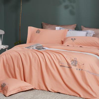 2021新品60支全棉四件套刺绣四件套 1.8m(6英尺)床 香橙桔