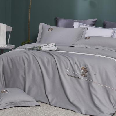 2021新品60支全棉四件套刺绣四件套 1.8m(6英尺)床 雅士灰