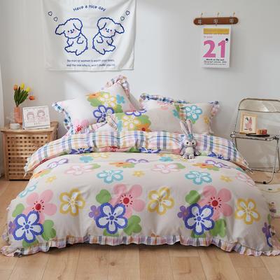 2021新款韩版小清新全棉花边四件套纯棉 1.5m(5英尺)床 花儿朵朵