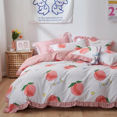 2021新款韩版小清新全棉花边四件套纯棉 1.5m(5英尺)床 甜甜蜜桃
