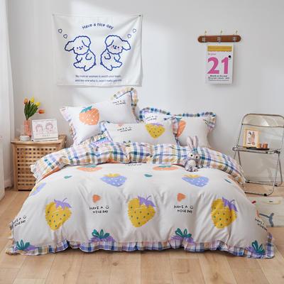 2021新款韩版小清新全棉花边四件套纯棉 1.5m(5英尺)床 涂鸦草莓