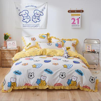 2021新款韩版小清新全棉花边四件套纯棉 1.5m(5英尺)床 草莓小熊