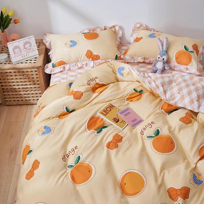 2021新款韩版小清新全棉花边四件套纯棉 1.5m(5英尺)床 夏日甜橙