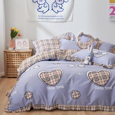 2021新款韩版小清新全棉花边四件套纯棉 1.5m(5英尺)床 爱心小格