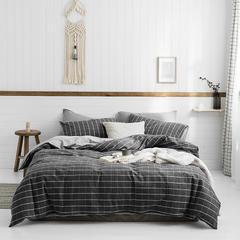 无印优品 2019新款水洗棉四件套 1.2m 床单款三件套 白条格