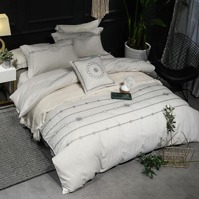2018色纺全棉四件套 1.8m床 慢调时光-米灰