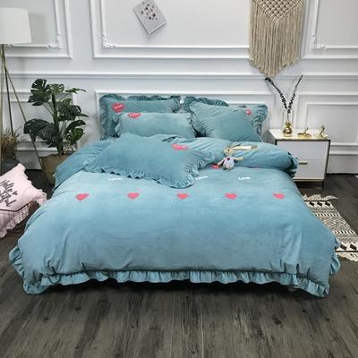 2018新款-高克重宝宝绒毛巾绣四件套 1.8m(6英尺)床 爱心-豆绿