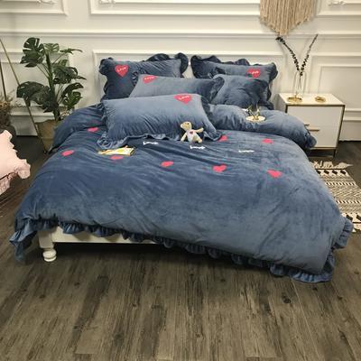 2018新款-高克重宝宝绒毛巾绣四件套 1.8m(6英尺)床 爱心-蓝