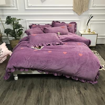 2018新款-高克重宝宝绒毛巾绣四件套 1.8m(6英尺)床 爱心-紫