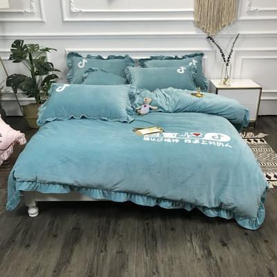 2018新款-高克重宝宝绒毛巾绣四件套 1.8m(6英尺)床 抖音-豆绿
