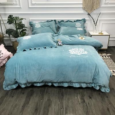 2018新款-高克重宝宝绒毛巾绣四件套 1.8m(6英尺)床 珊瑚海-豆绿
