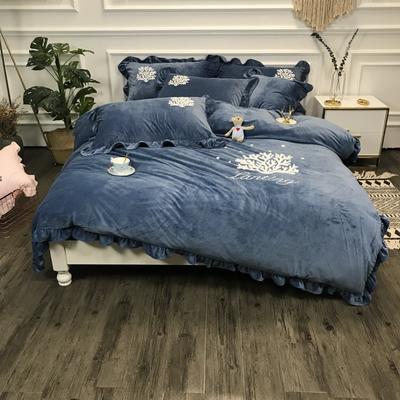 2018新款-高克重宝宝绒毛巾绣四件套 1.8m(6英尺)床 珊瑚海-蓝