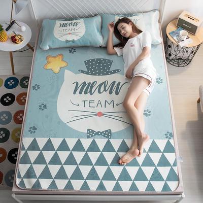 2019新品-大版花冰丝席 1.5m(5英尺)床 绅士猫