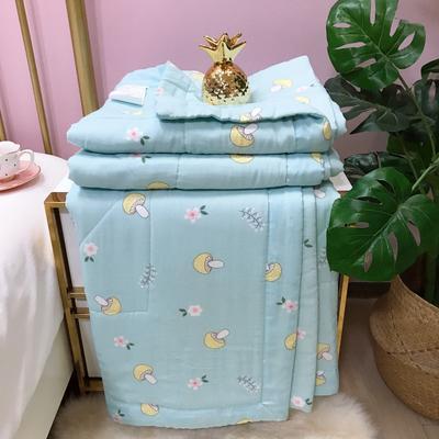 2019新款-双层纱夏被 150x200cm 蘑菇点点-蓝