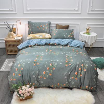 2019新款-水晶绒印花四件套 床单款1.5m(5英尺)床 初夏-绿