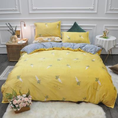 2019新款-水晶绒印花四件套 床单款1.5m(5英尺)床 胡萝卜-黄