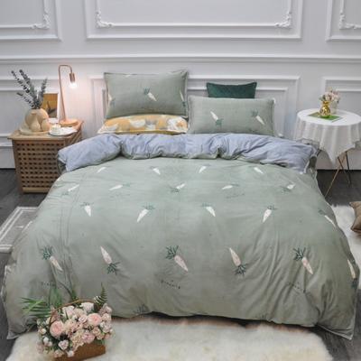2019新款-水晶绒印花四件套 床单款1.5m(5英尺)床 胡萝卜-绿