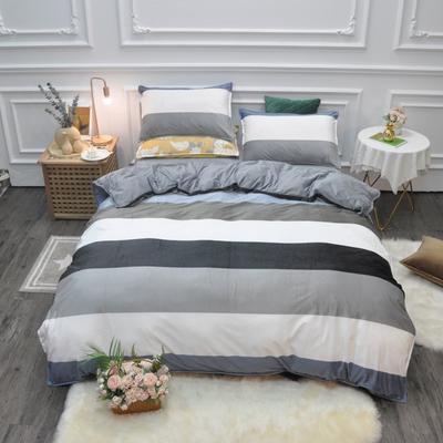2019新款-水晶绒印花四件套 床单款1.5m(5英尺)床 凯森-蓝