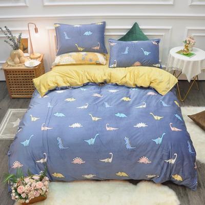 2019新款-水晶绒印花四件套 床单款1.5m(5英尺)床 恐龙时代-蓝