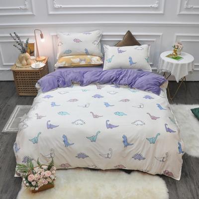 2019新款-水晶绒印花四件套 床单款1.5m(5英尺)床 恐龙时代-米黄