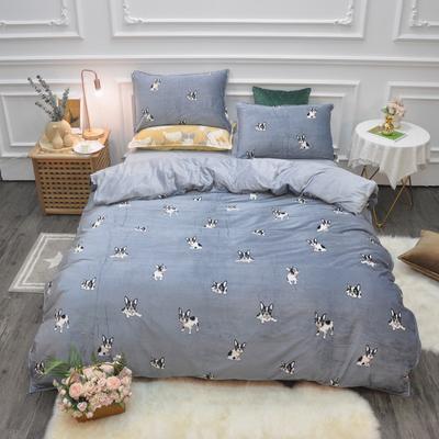 2019新款-水晶绒印花四件套 床单款1.5m(5英尺)床 萌犬奇奇-蓝