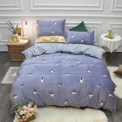 2019新款-水晶绒印花四件套 床单款1.5m(5英尺)床 萌犬奇奇-紫