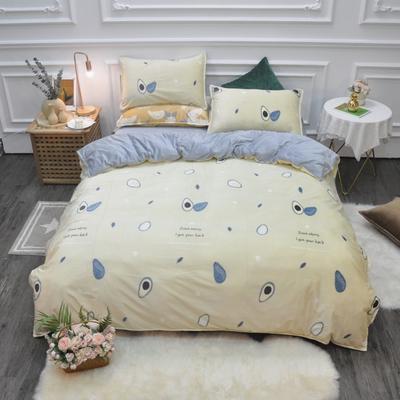 2019新款-水晶绒印花四件套 床单款1.5m(5英尺)床 牛油果-黄