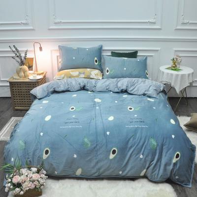2019新款-水晶绒印花四件套 床单款1.5m(5英尺)床 牛油果-蓝