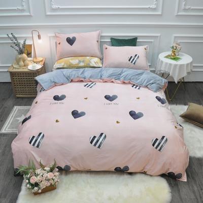 2019新款-水晶绒印花四件套 床单款1.5m(5英尺)床 怦然心动-粉