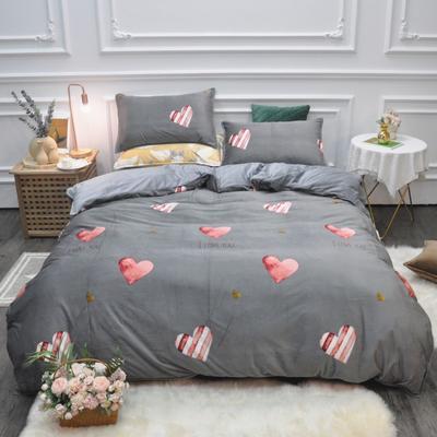 2019新款-水晶绒印花四件套 床单款1.5m(5英尺)床 怦然心动-灰