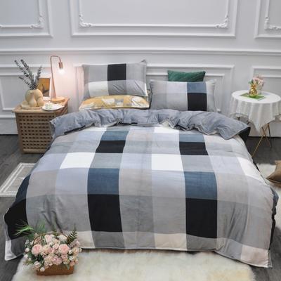 2019新款-水晶绒印花四件套 床单款1.5m(5英尺)床 时代风尚-蓝