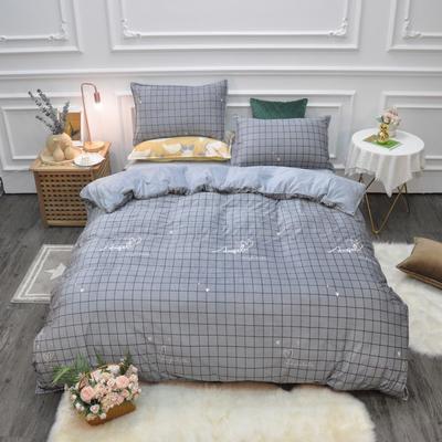 2019新款-水晶绒印花四件套 床单款1.5m(5英尺)床 心格-灰