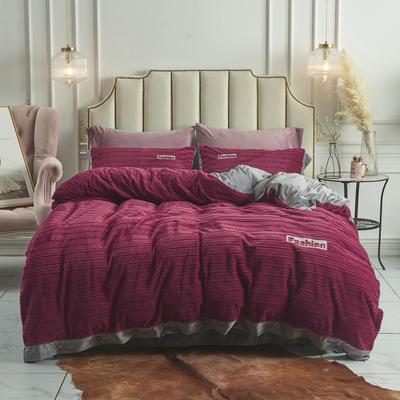 2019新款-兰泊尔立体绒绣花四件套 床单款1.8m(6英尺)床 兰泊尔 酒红