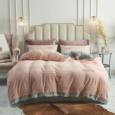 2019新款-兰泊尔立体绒绣花四件套 床单款1.8m(6英尺)床 兰泊尔 浅粉