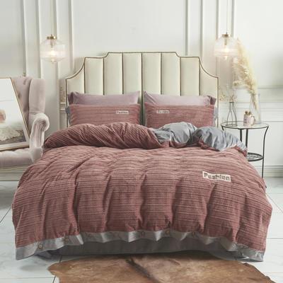 2019新款-兰泊尔立体绒绣花四件套 床单款1.8m(6英尺)床 兰泊尔 浅咖