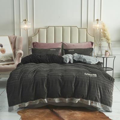 2019新款-兰泊尔立体绒绣花四件套 床单款1.8m(6英尺)床 兰泊尔 深灰