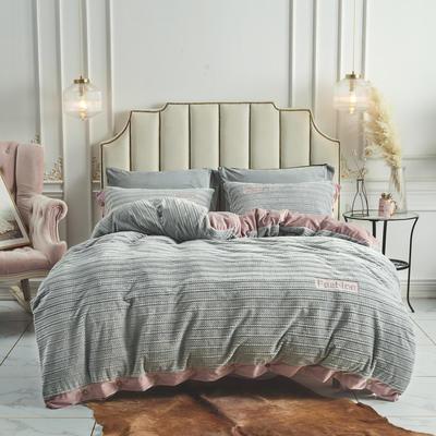 2019新款-兰泊尔立体绒绣花四件套 床单款1.8m(6英尺)床 兰泊尔 银灰