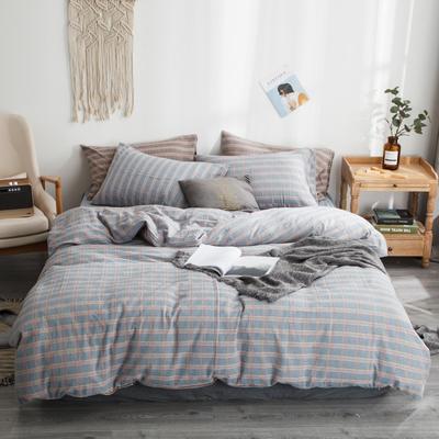 2019新款-全棉色织花线条格四件套 床单款1.8m(6英尺)床 蓝格