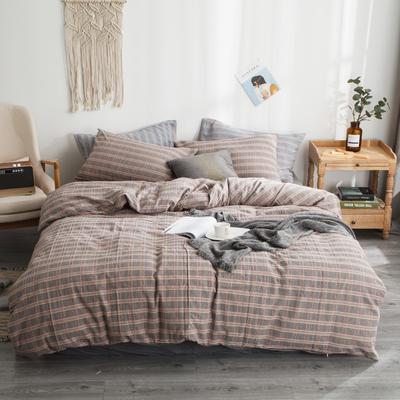 2019新款-全棉色织花线条格四件套 床单款1.8m(6英尺)床 灰格