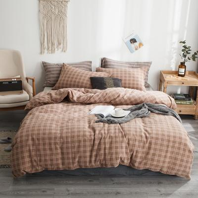 2019新款-全棉色织花线条格四件套 床单款1.8m(6英尺)床 咖格