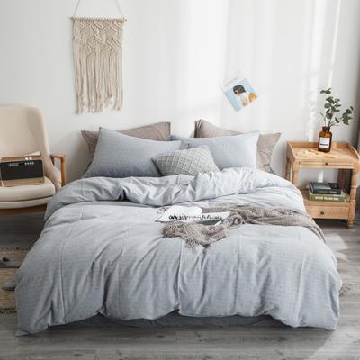 2019新款-全棉色织花线条格四件套 床单款1.8m(6英尺)床 蓝条