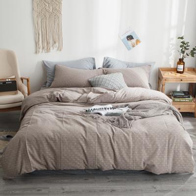 2019新款-全棉色织花线条格四件套 床单款1.8m(6英尺)床 灰条