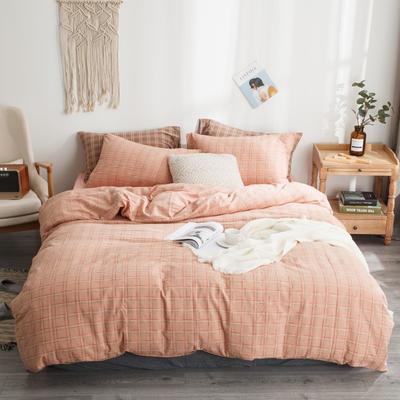2019新款-全棉色织花线条格四件套 床单款1.8m(6英尺)床 粉格