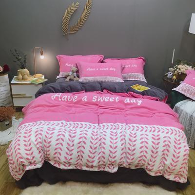 2019新款-牛奶绒数码印花四件套 床单款1.5m(5英尺)床 罗缦-丁香粉