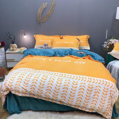 2019新款-牛奶绒数码印花四件套 床单款1.8m(6英尺)床 罗缦-芒果黄