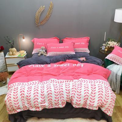 2019新款-牛奶绒数码印花四件套 床单款1.5m(5英尺)床 罗缦-玫瑰红