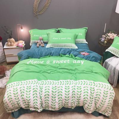 2019新款-牛奶绒数码印花四件套 床单款1.5m(5英尺)床 罗缦-苹果绿