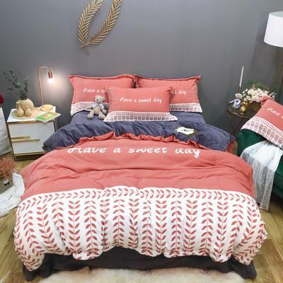 2019新款-牛奶绒数码印花四件套 床单款1.5m(5英尺)床 罗缦-秋枫褐